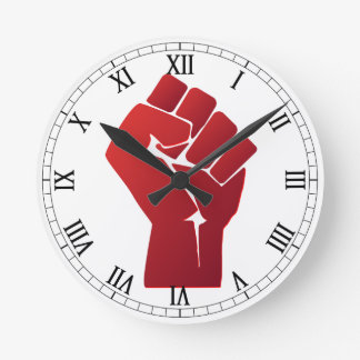 Raised Red Gradient Fist Round Clock