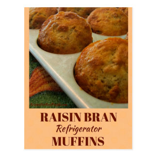 Raisin Bran Refrigerator Muffins Recipe Card Postcard