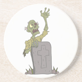 Raising From The Grave Creepy Zombie With Rotting Coaster