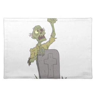 Raising From The Grave Creepy Zombie With Rotting Placemat