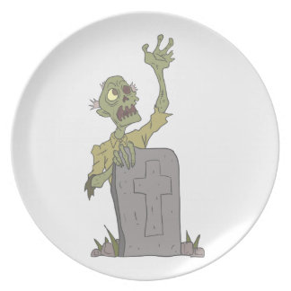 Raising From The Grave Creepy Zombie With Rotting Plate