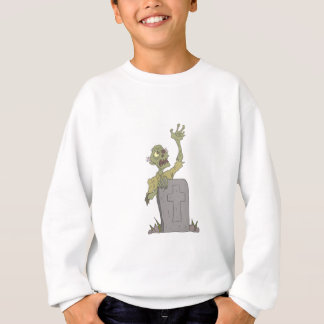 Raising From The Grave Creepy Zombie With Rotting Sweatshirt