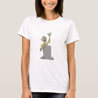 Raising From The Grave Creepy Zombie With Rotting T-Shirt