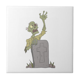 Raising From The Grave Creepy Zombie With Rotting Tile