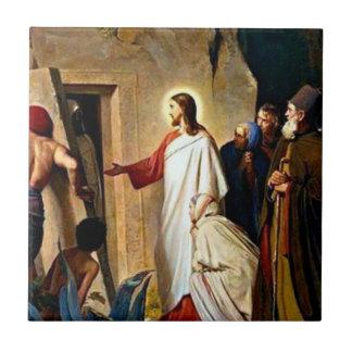 Raising of Lazarus painting by Carl Bloch Small Square Tile