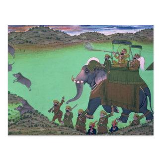 Raja Sarup Singh  of Udaipur, on a boar hunt Postcard