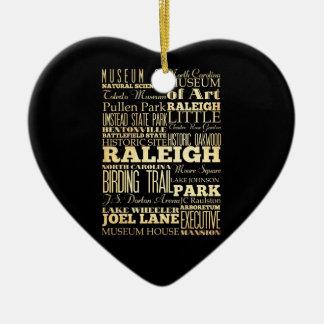 Raleigh City of North Carolina State Typography Ceramic Heart Decoration