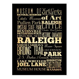 Raleigh City of North Carolina State Typography Postcard