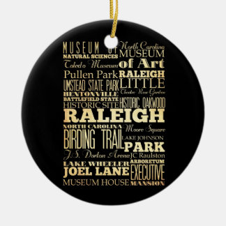 Raleigh City of North Carolina State Typography Round Ceramic Decoration