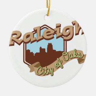 Raleigh City Of Oaks Round Ceramic Decoration