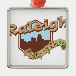 Raleigh City Of Oaks Silver-Colored Square Decoration