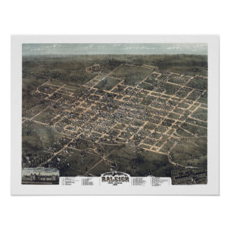 Raleigh, NC Panoramic Map DIGITALLY REMASTERED Poster
