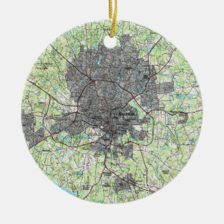 Raleigh North Carolina Map (1990) Ceramic Ornament