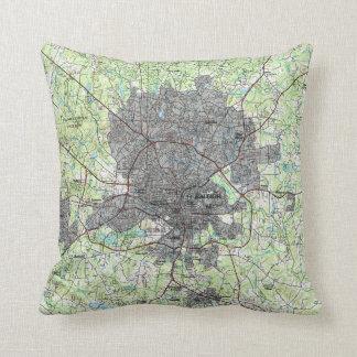 Raleigh North Carolina Map (1990) Cushion