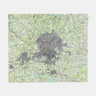 Raleigh North Carolina Map (1990) Fleece Blanket
