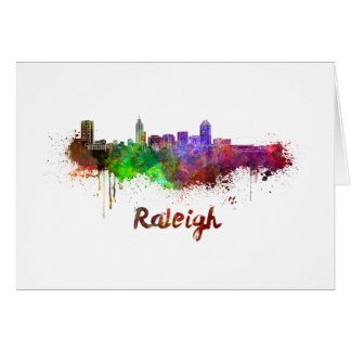 Raleigh skyline in watercolor card