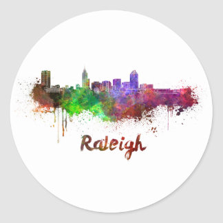 Raleigh skyline in watercolor classic round sticker