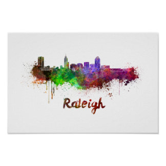 Raleigh skyline in watercolor poster