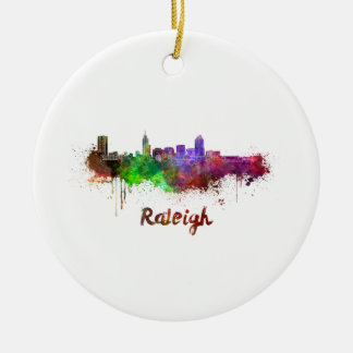 Raleigh skyline in watercolor round ceramic decoration