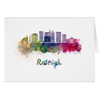 Raleigh V2 skyline in watercolor Card