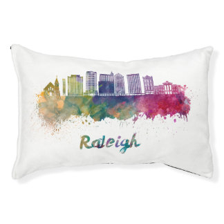 Raleigh V2 skyline in watercolor Pet Bed