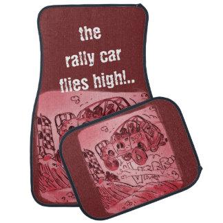rally car flies high customizable illustration car mat