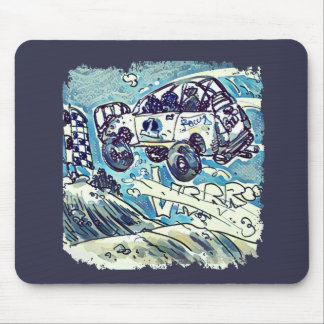 rally car is flying high cartoon mouse pad