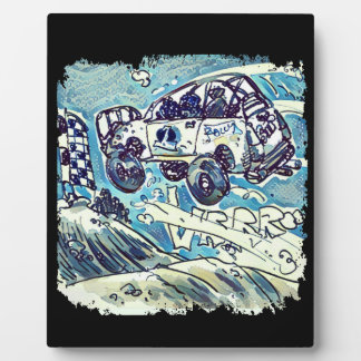 rally car is flying high cartoon plaque