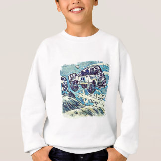 rally car is flying high cartoon sweatshirt