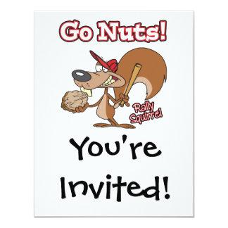 rally squirrel go nuts baseball cartoon 11 cm x 14 cm invitation card