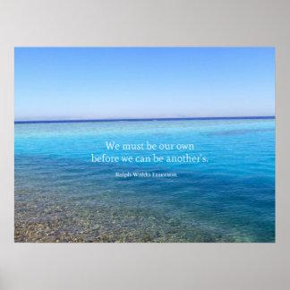 Ralph Waldo Emerson love quote beach theme Poster