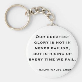 Ralph Waldo Emerson - Motivation Quote Basic Round Button Key Ring