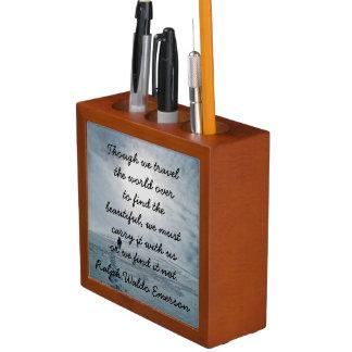 Ralph Waldo Emerson quote - desk organizer Desk Organiser