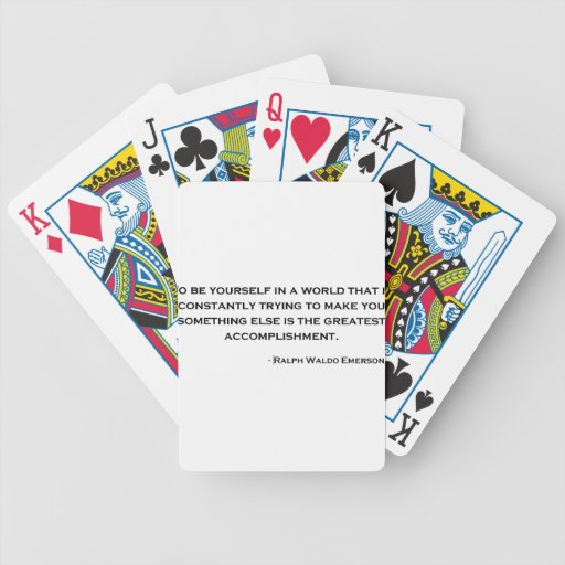 Ralph Waldo Emerson Wise Quote Bicycle Poker Cards