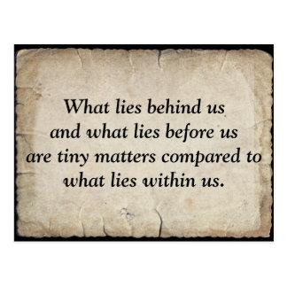 Ralph Waldo Emerson's quote on life Postcard