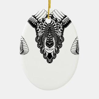 Ram drawing mandala style ceramic ornament