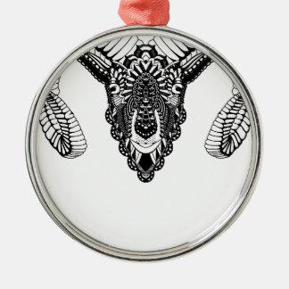 Ram drawing mandala style metal ornament