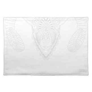 Ram drawing mandala style white placemat