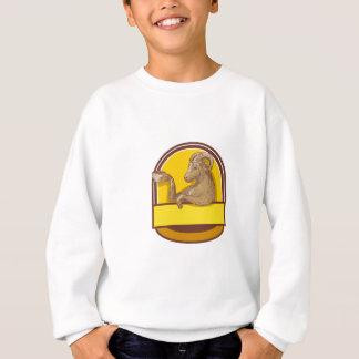 Ram Goat Drinking Coffee Crest Drawing Sweatshirt