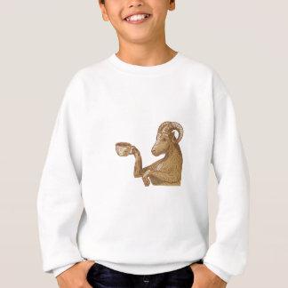 Ram Goat Drinking Coffee Drawing Sweatshirt