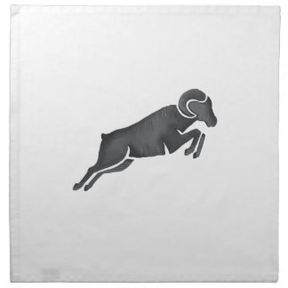 Ram Goat Silhouette Jumping Watercolor Napkin