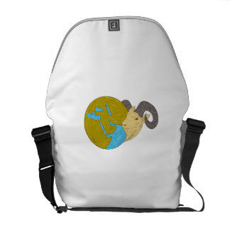 Ram Head Middle East Globe Drawing Courier Bag
