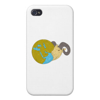 Ram Head Middle East Globe Drawing iPhone 4/4S Cases