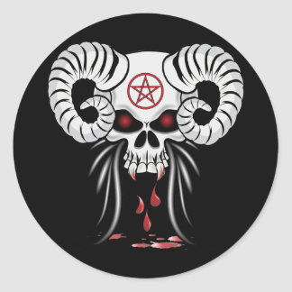 Ram Horned Skull Classic Round Sticker
