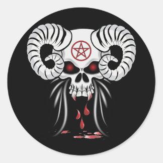 Ram Horned Skull Round Sticker
