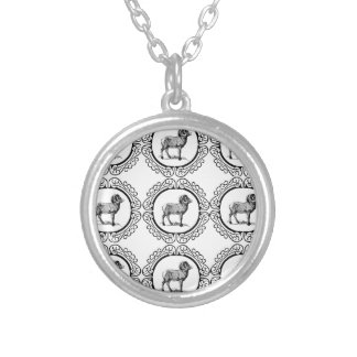 ram in a round silver plated necklace