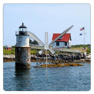 Ram Island Lighthouse, Maine Square Wall Clock