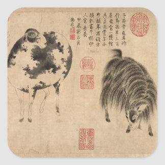 Ram Sheep or Goat Year Chinese Painting Sticker