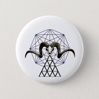 Ram skull sacred geometry 6 cm round badge