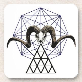 Ram skull sacred geometry coaster